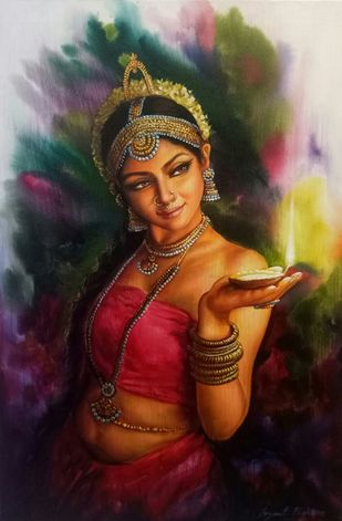 GLOW by JAYANT BHOKARE, Realism Painting, Acrylic on Canvas, Brown color