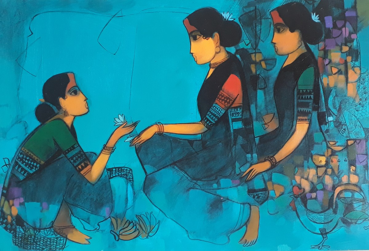untitled by Sachin Sagare, Expressionism Painting, Acrylic on Canvas, Cyan color
