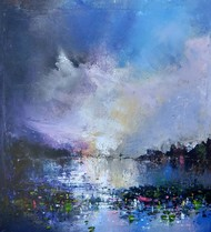 Landscape by Javid Iqbal, Abstract Painting, Acrylic on Canvas, Blue color