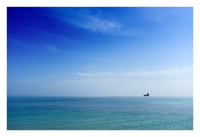 On the Horizon by Gautam Vir Prashad, Image Photography, Giclee Print on Hahnemuhle Paper, Cyan color