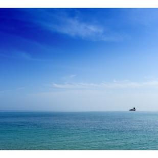 On the Horizon by Gautam Vir Prashad, Image Photography, Giclee Print on Hahnemuhle Paper, Cyan color
