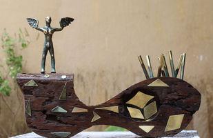 TERRAIN by Shivarama Chary. Y, Art Deco Sculpture | 3D, Bronze, Beige color