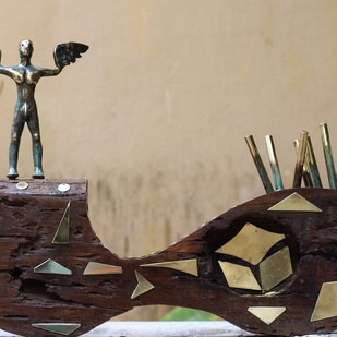 TERRAIN by Shivarama Chary. Y, Art Deco Sculpture | 3D, Bronze, Beige color
