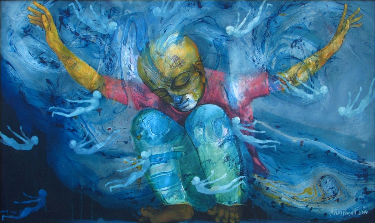 untitled by Arun Pandit, Expressionism Painting, Acrylic on Canvas, Blue color