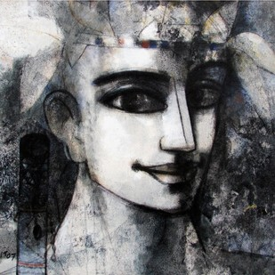 untitled by Asit Kumar Sarkar, Illustration Painting, Acrylic on Canvas, Gray color