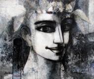 untitled by Asit Kumar Sarkar, Illustration Painting, Acrylic on Canvas, Gray color