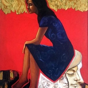 untitled by Dilawar Khan, Expressionism Painting, Acrylic on Canvas, Red color