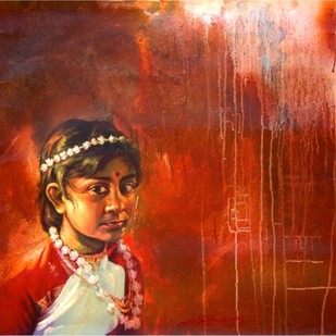 untitled by Harisadhan Dey, Expressionism Painting, Oil on Canvas, Brown color