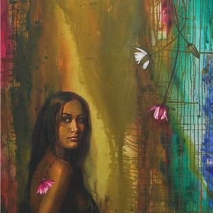 Flamboyance Lady by Harisadhan Dey, Expressionism Painting, Oil on Canvas, Brown color