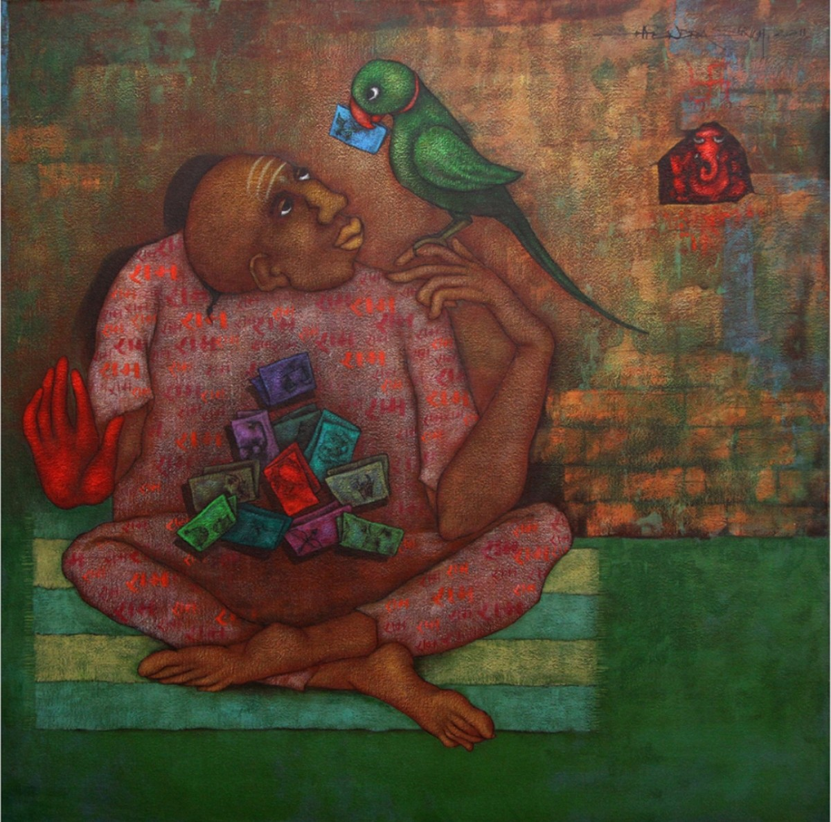 untitled by Hitendra Singh Bhati, Expressionism Painting, Acrylic on Canvas, Brown color