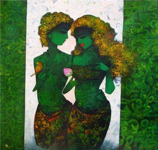 untitled by Mukesh Salvi, Expressionism Painting, Acrylic on Canvas, Green color