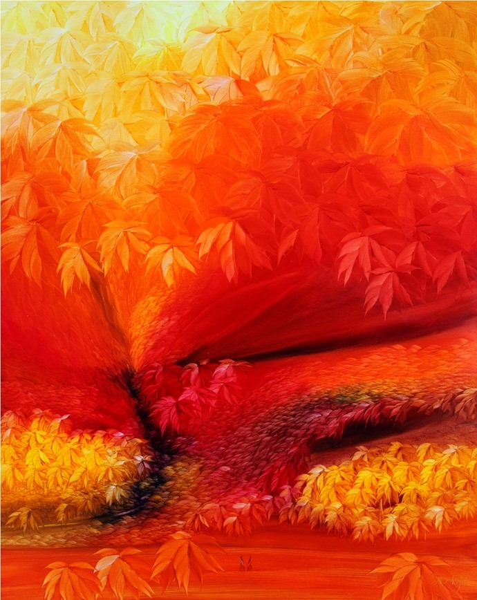 Inner escape -2 by R.S Shakya, Impressionism Painting, Oil on Canvas, Orange color