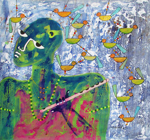 Krishna by Sharad Bhardwaj , Expressionism Painting, Acrylic on Canvas, Green color