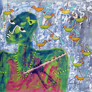 Krishna by Sharad Bhardwaj , Expressionism Painting, Acrylic on Canvas, Green color