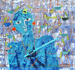 Krishna by Sharad Bhardwaj , Expressionism Painting, Acrylic on Canvas, Cyan color