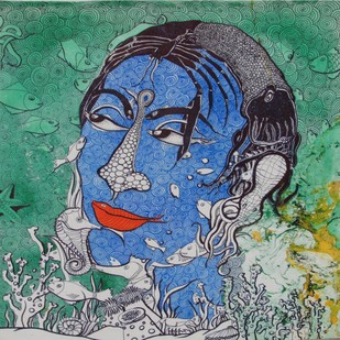 untitled by Shishir Bhatt, Expressionism Painting, Acrylic on Canvas, Green color