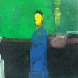 untitled by Somnath Singh, Expressionism Painting, Acrylic on Canvas, Green color