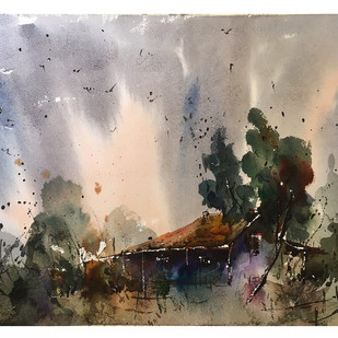 Watercolour Landscape 01 by Suvarna Dheringe, Impressionism Painting, Watercolor on Paper, Brown color