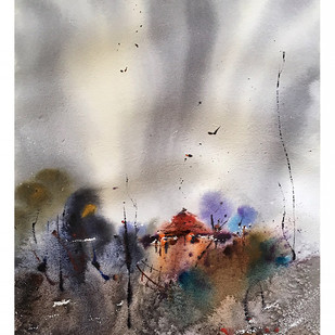 Watercolour Landscape 02 by Suvarna Dheringe, Impressionism Painting, Watercolor on Paper, Gray color