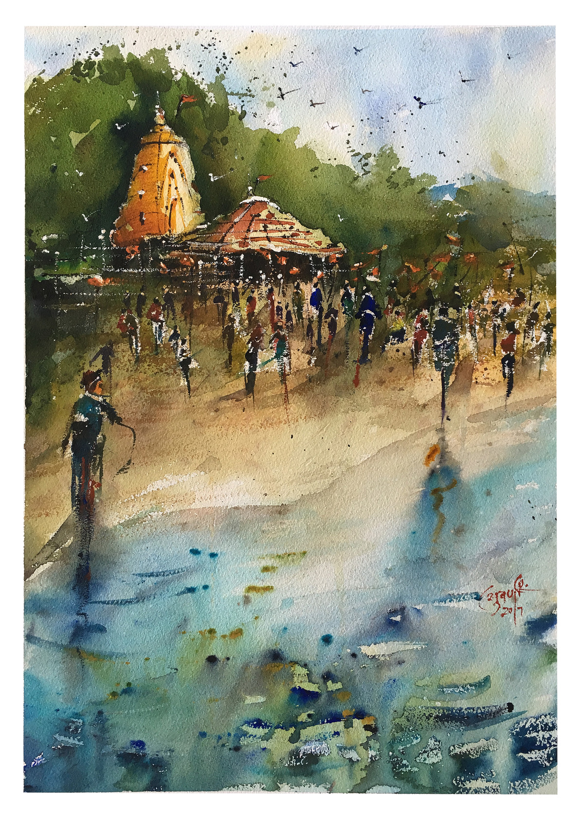 Ganapatipule by Suvarna Dheringe, Impressionism Painting, Watercolor on Paper, Green color