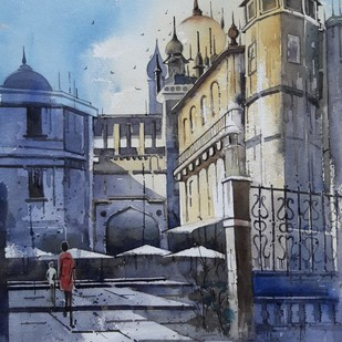 mumbai by Siddhanath Tingare, Impressionism Painting, Watercolor on Paper, Blue color
