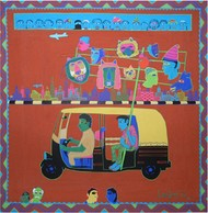 Rickshaw by LOKESH B H, Pop Art Painting, Gouache on Paper, Brown color