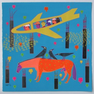 Yellow plane by LOKESH B H, Pop Art Painting, Gouache on Paper, Blue color