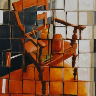 Chair by Ravikumar Kashi, Abstract Painting, Oil on Canvas, Brown color