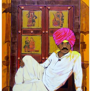 Shepherd.. by Ganesh Jadhav , Expressionism Painting, Acrylic on Canvas, Brown color