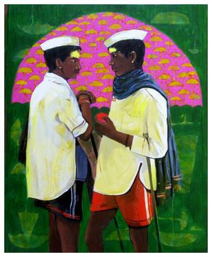 Shepherd.. by Ganesh Jadhav , Expressionism Painting, Acrylic on Canvas, Green color