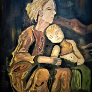 Warmth by Jatin Satsangi, Expressionism Painting, Oil on Canvas Board, Brown color