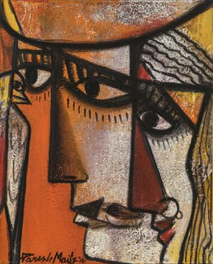 vision II by Paresh Maity, Expressionism Painting, Oil on Canvas, Brown color