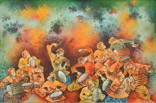 Folk Dance by S Krishnappa, Expressionism Painting, Oil on Canvas, Brown color