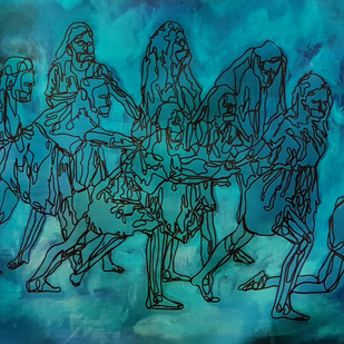 Fight or Flight by Orah, Expressionism Painting, Mixed Media on Canvas, Cyan color