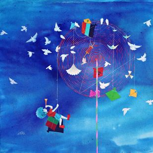 Childhood Passion ii by shiv kumar soni, Expressionism Painting, Acrylic on Canvas, Blue color