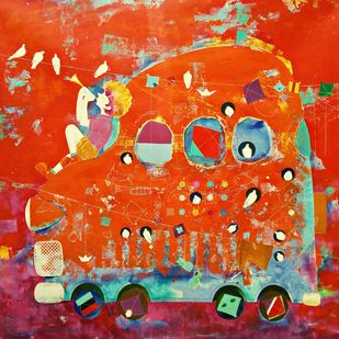 The Childhood xiv by shiv kumar soni, Expressionism Painting, Acrylic on Canvas, Orange color