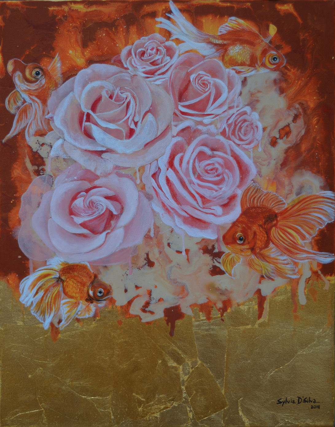 GOLDEN by Sylvia D'Silva, Impressionism Painting, Acrylic & Ink on Canvas, Brown color