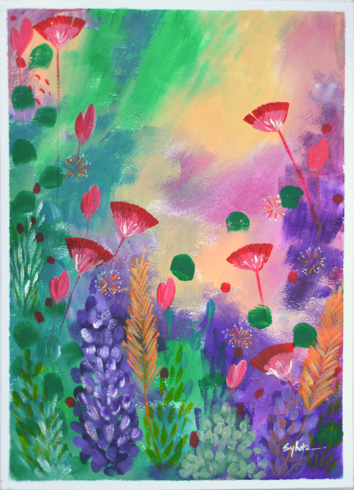 FLORAL PARADISE 1 by Sylvia D'Silva, Expressionism Painting, Acrylic on Paper, Green color