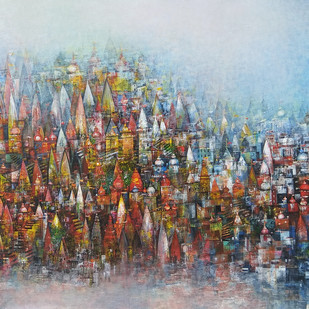 Banaras Ghat by M Singh, Abstract Painting, Acrylic on Canvas, Brown color