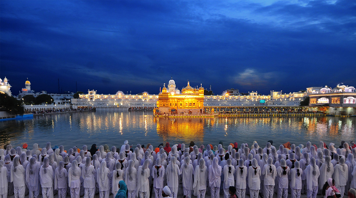 A never ending flow of visitors to the Golden Temple. by Rupinder Khullar, Image Photography, Digital Print on Paper, Blue color