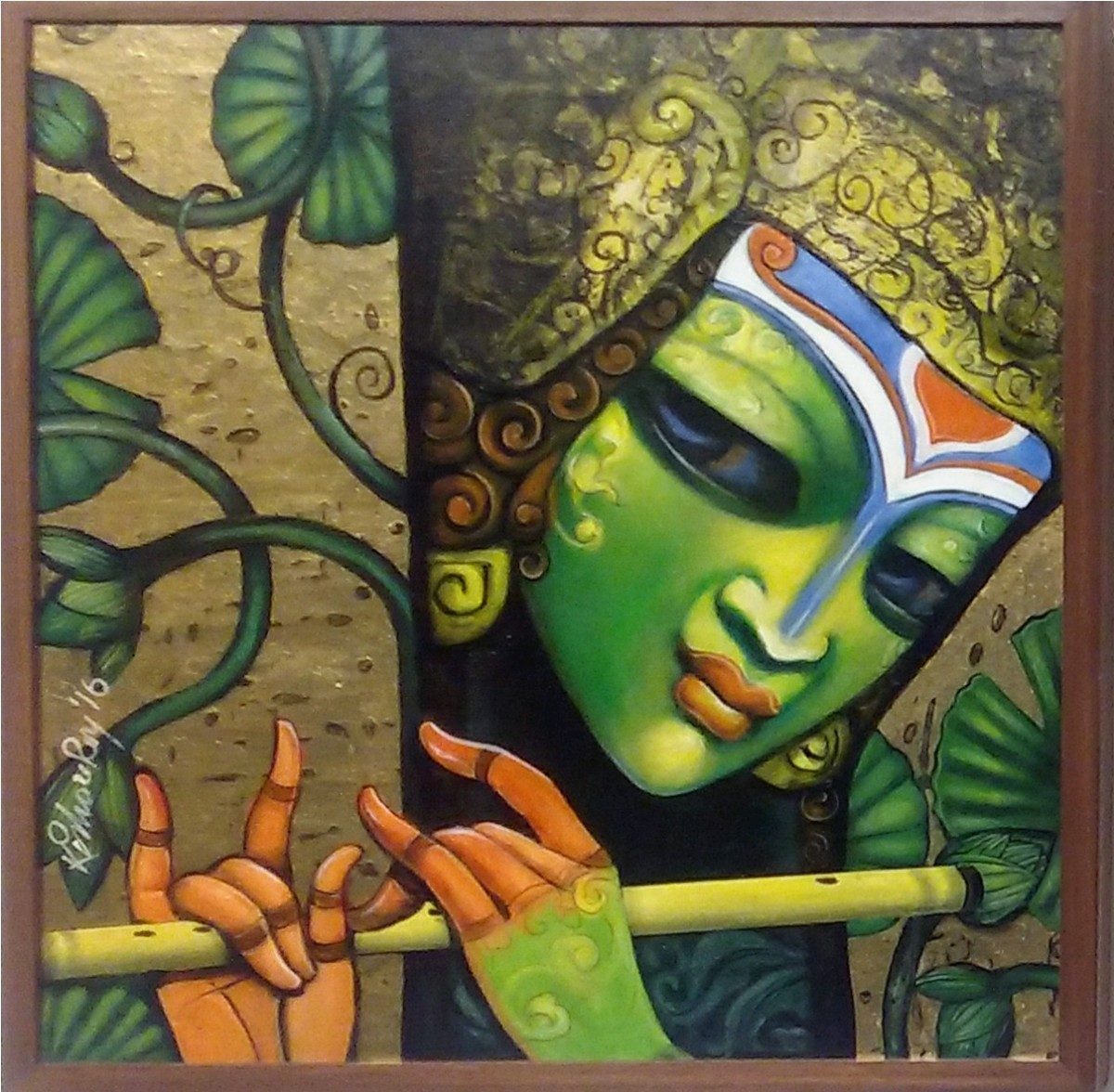 untitled by Kishore Roy, Decorative Painting, Acrylic on Canvas, Green color