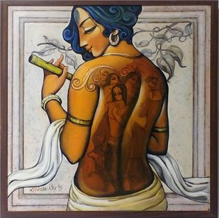 Krishna by Kishore Roy, Expressionism Painting, Acrylic on Canvas, Brown color