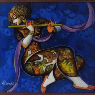 untitled by Kishore Roy, Decorative Painting, Acrylic on Canvas, Blue color