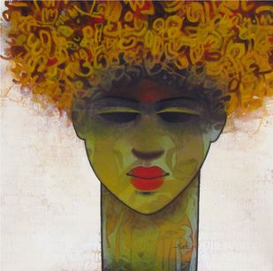 untitled by Mukesh Salvi, Pop Art Painting, Acrylic on Canvas, Brown color