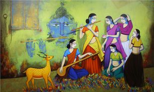 untitled by Pravin Utge, Traditional Painting, Acrylic on Canvas, Green color