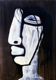 untitled by Shishir Bhatt, Expressionism Painting, Acrylic on Paper, Gray color