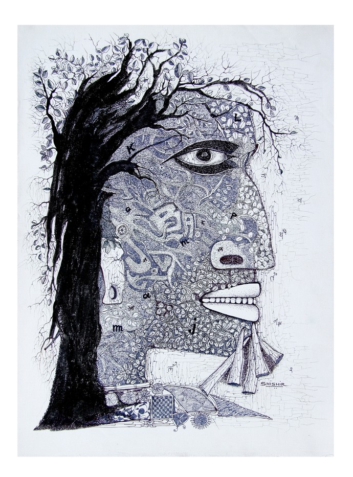 untitled by Shishir Bhatt, Illustration Painting, Mixed Media on Canvas, Gray color