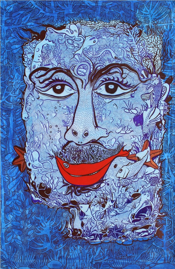 untitled by Shishir Bhatt, Expressionism Painting, Mixed Media on Canvas, Blue color