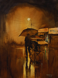 A Night in Monsoon by Mopasang Valath, Impressionism Painting, Watercolor on Paper, Brown color