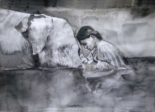 Apology by Sreenivasa Ram Makineedi, Illustration Painting, Watercolor on Paper, Gray color